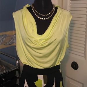 Worthington drape neck top xl tall lime green